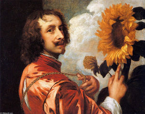 Anthony Van Dyck - Self portrait with a Sunflower