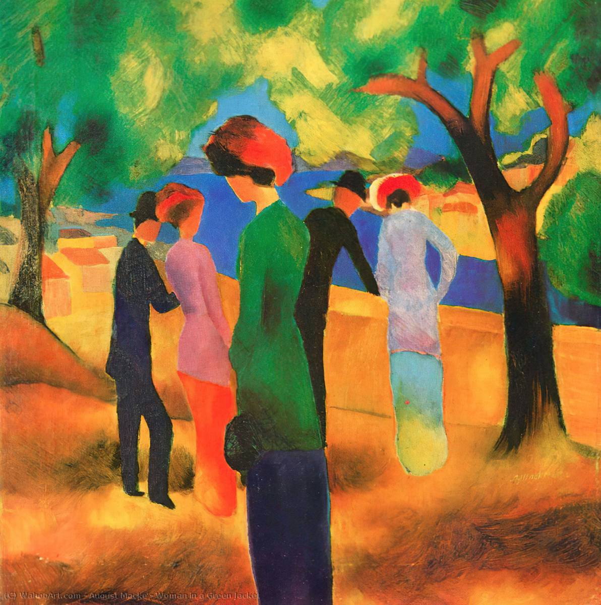 Order Reproductions | Woman in a Green Jacket by August Macke | AllPaintingsStore.com