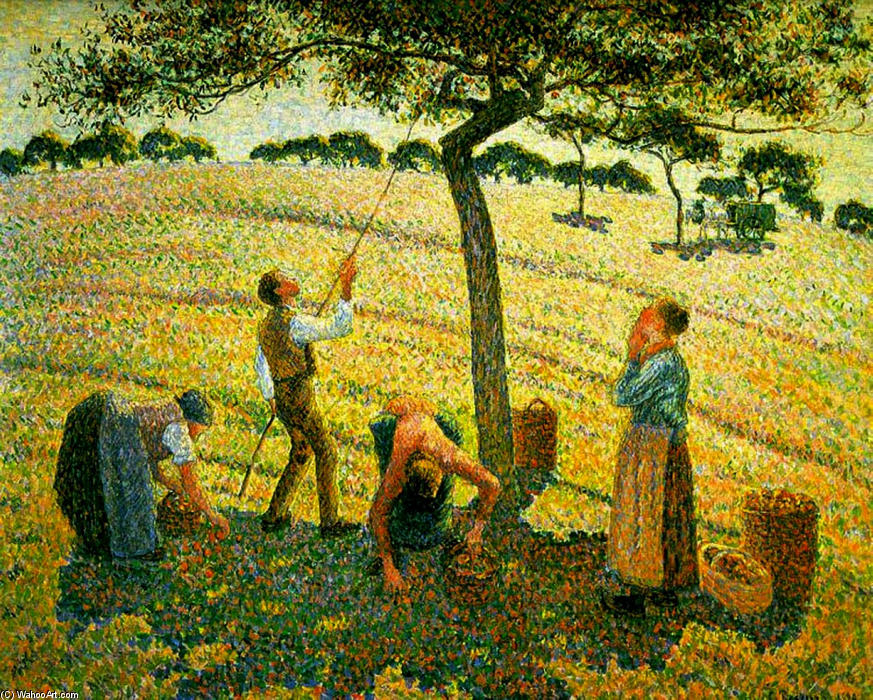 Order Paintings Reproductions | Apple Picking at Eragny-sur-Epte by Camille Pissarro | AllPaintingsStore.com