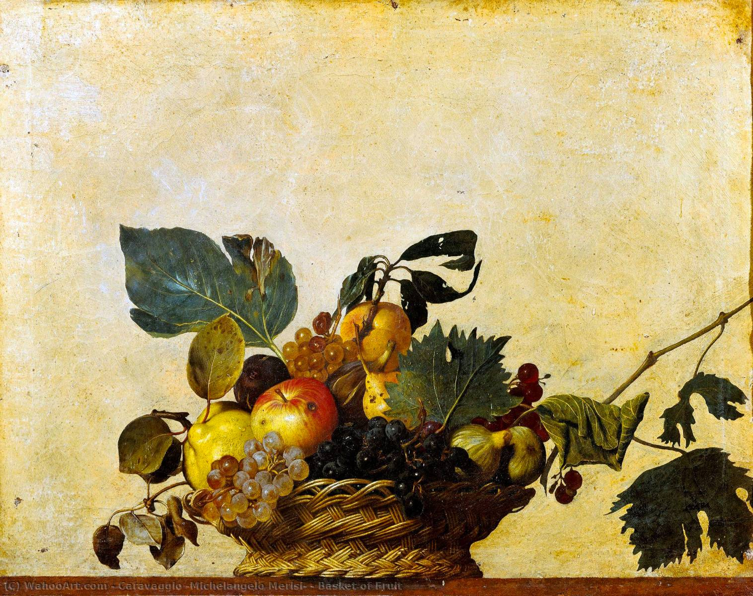 famous painting Basket of Fruit of Caravaggio (Michelangelo Merisi)