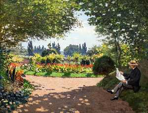 Claude Monet - Adolphe Monet Reading in the Garden