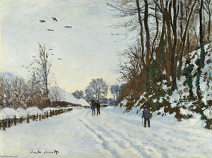 Claude Monet - The Road to the Farm of Saint-Simeon in Winter