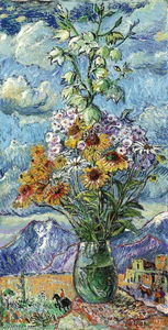 David Davidovich Burliuk - Bouquet and mountains, Colorado