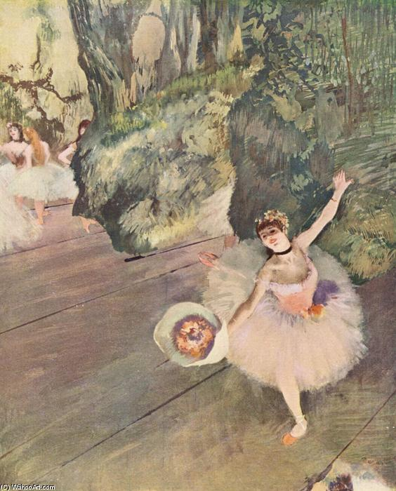 famous painting Dancer with a bouquet of flowers (The Star of the ballet) of Edgar Degas