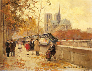 Edouard Cortes - Booksellers along the Seine, Notre-Dame View
