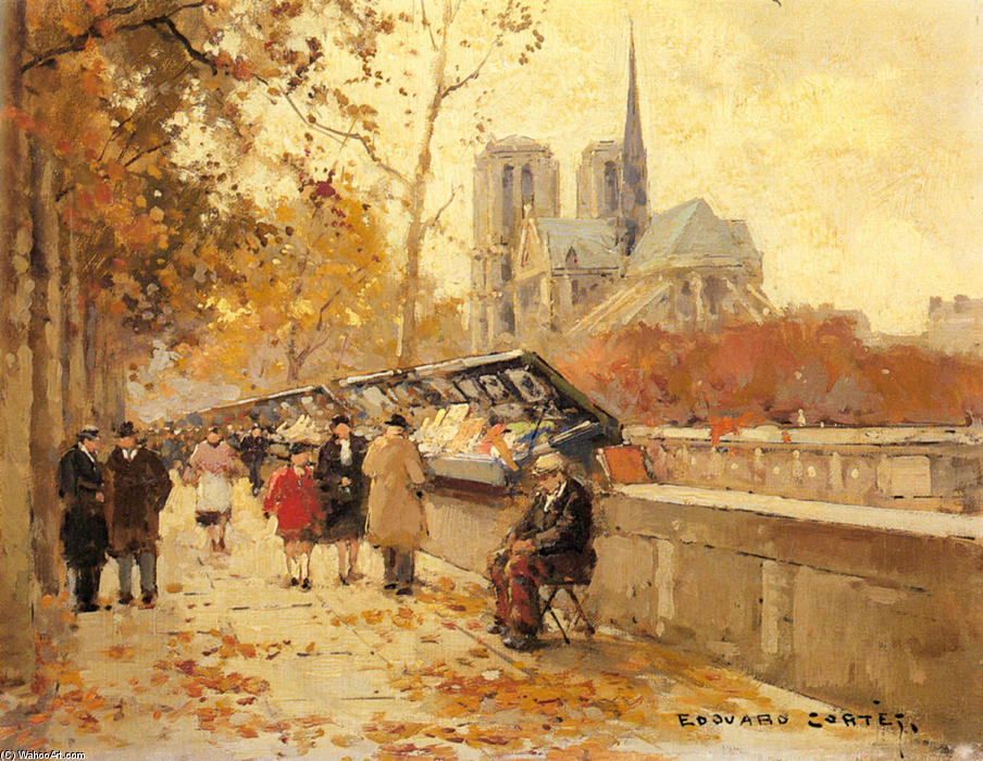 | Booksellers along the Seine, Notre-Dame View by Edouard Cortes | AllPaintingsStore.com