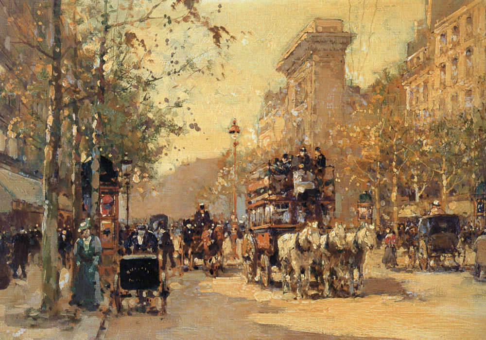 famous painting The Porte Saint Martin of Edouard Cortes