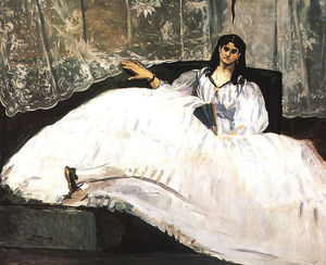 Edouard Manet - Jeanne Duval, Baudelaire's Mistress, Reclining (Lady with a Fan)
