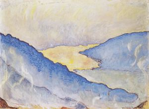 Ferdinand Hodler - Evening mist on Lake Thun