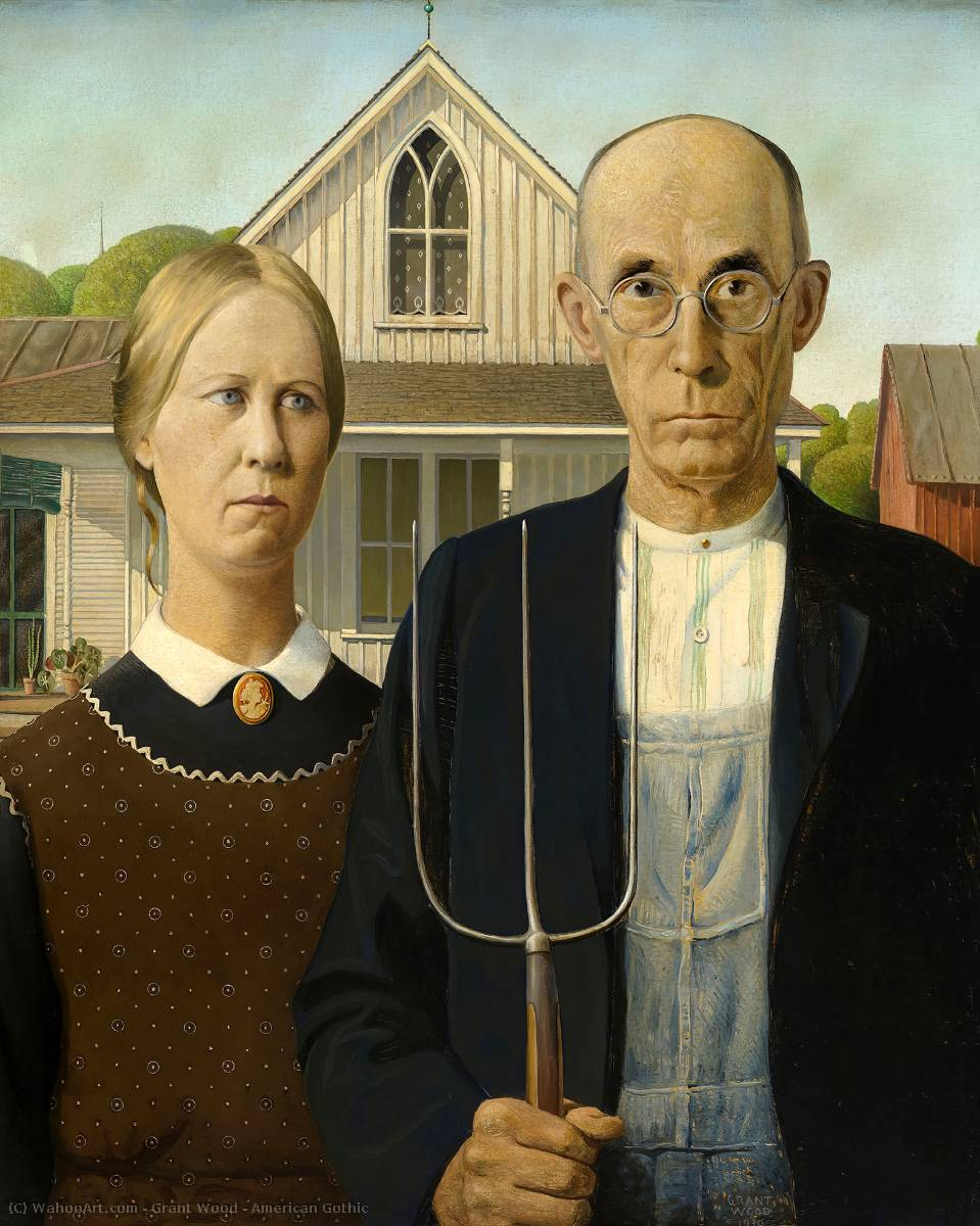 Order Oil Painting : American Gothic by Grant Wood | AllPaintingsStore.com