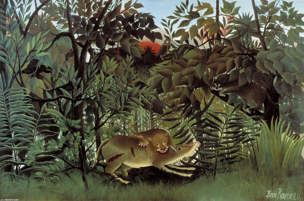 Buy Museum Art Reproductions | The Hungry Lion Throws Itself on the Antelope by Henri Julien Félix Rousseau (Le Douanier) | AllPaintingsStore.com