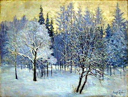 famous painting The Frost. Straw-Coloured Sky of Igor Emmanuilovich Grabar
