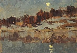 Isaak Ilyich Levitan - Landscape with moon