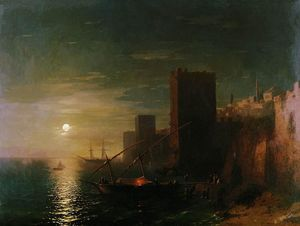 Ivan Aivazovsky - Lunar night in the Constantinople