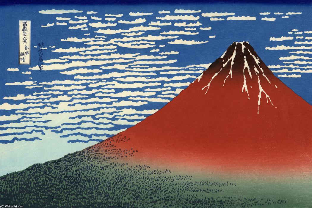 Order Reproductions | Fuji, Mountains in clear Weather (Red Fuji) by Katsushika Hokusai | AllPaintingsStore.com