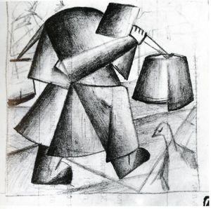 Kazimir Severinovich Malevich - Sketch to the Portrait of a Builder