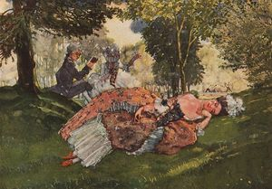 Konstantin Somov - Asleep on the Grass Young Woman