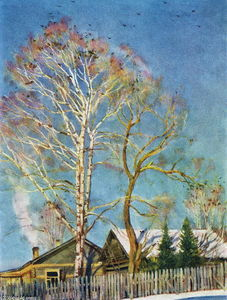 Konstantin Yuon - Blue morning. Rooks on the birches. Ligachevo