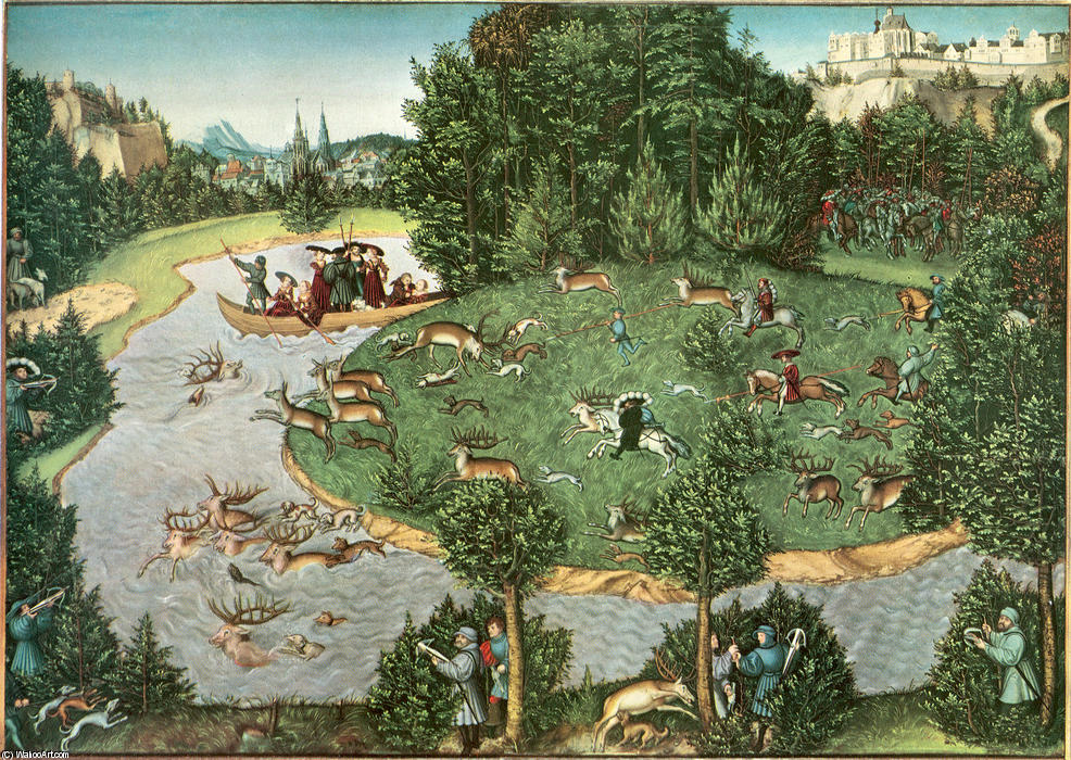 famous painting Stag Hunt of Elector Friedrich III the Wise of Lucas Cranach The Elder