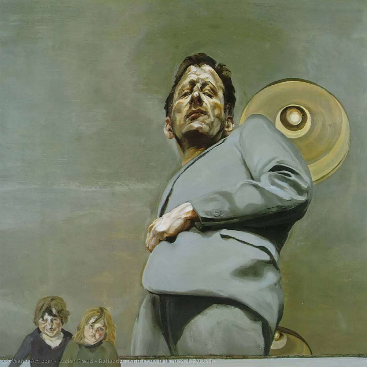 famous painting Reflection with Two Children (Self-Portrait) of Lucian Freud