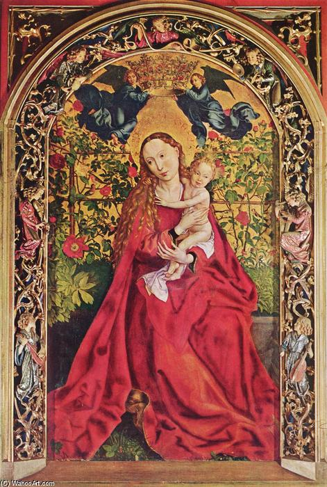 famous painting Madonna of the Rose Bower of Martin Schongauer