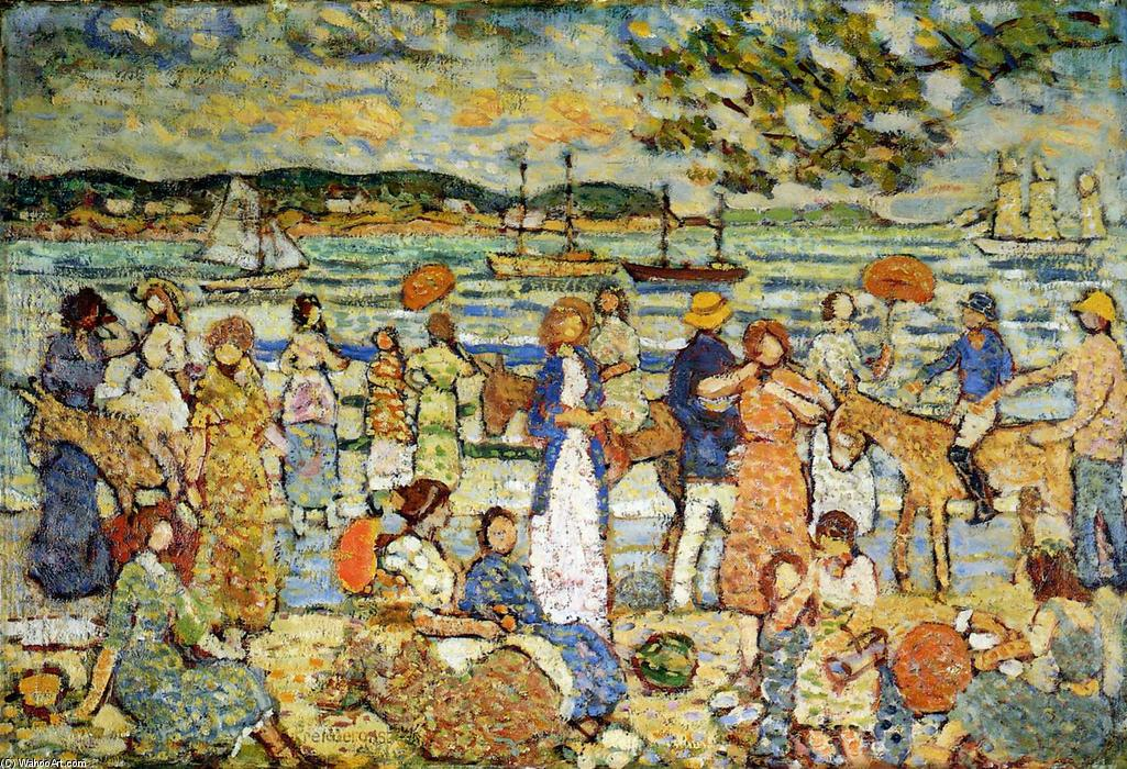 Order Reproductions | Along the Shore by Maurice Brazil Prendergast | AllPaintingsStore.com