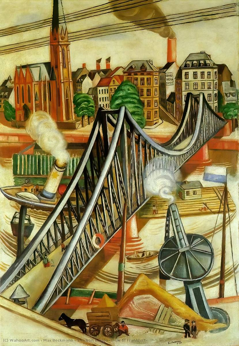 famous painting The Iron Bridge (View of Frankfurt) of Max Beckmann