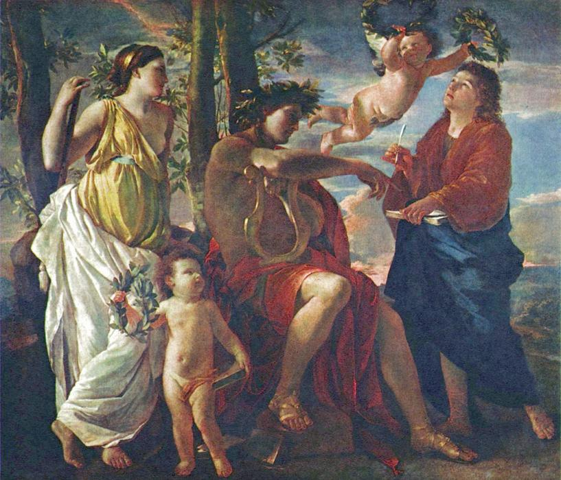 famous painting The Poet's Inspiration of Nicolas Poussin