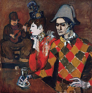 Pablo Picasso - At ''Lapin Agile'' (Harlequin with Glass)