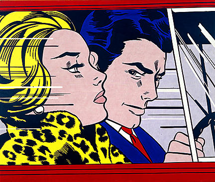 famous painting In the car of Roy Lichtenstein