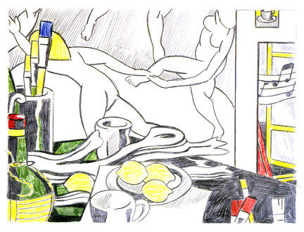 famous painting Artist's studio - The dance (sketch) of Roy Lichtenstein