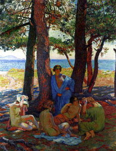 Theo Van Rysselberghe - Bathers under the Pines by the Sea