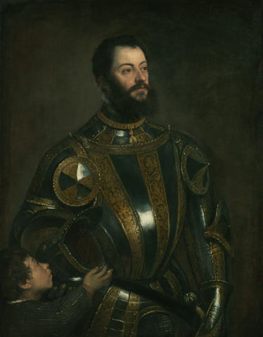 famous painting Portrait of Alfonso d`Avalos , in Armor with a Page of Tiziano Vecellio (Titian)