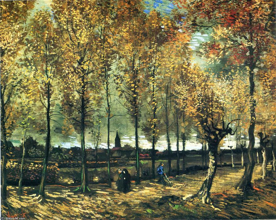famous painting Lane with poplars near Nuenen of Vincent Van Gogh