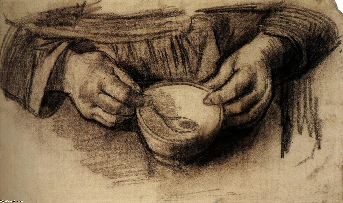 Buy Museum Art Reproductions | Lap with Hands and a Bowl by Vincent Van Gogh | AllPaintingsStore.com