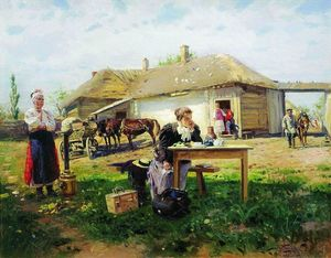 Vladimir Yegorovich Makovsky - Arrival of a School Mistress in the Countryside