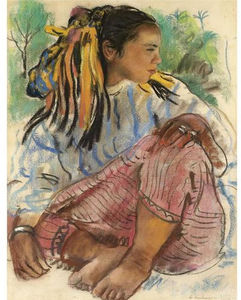 Zinaida Serebriakova - Portrait of a young girl. Marrakesh