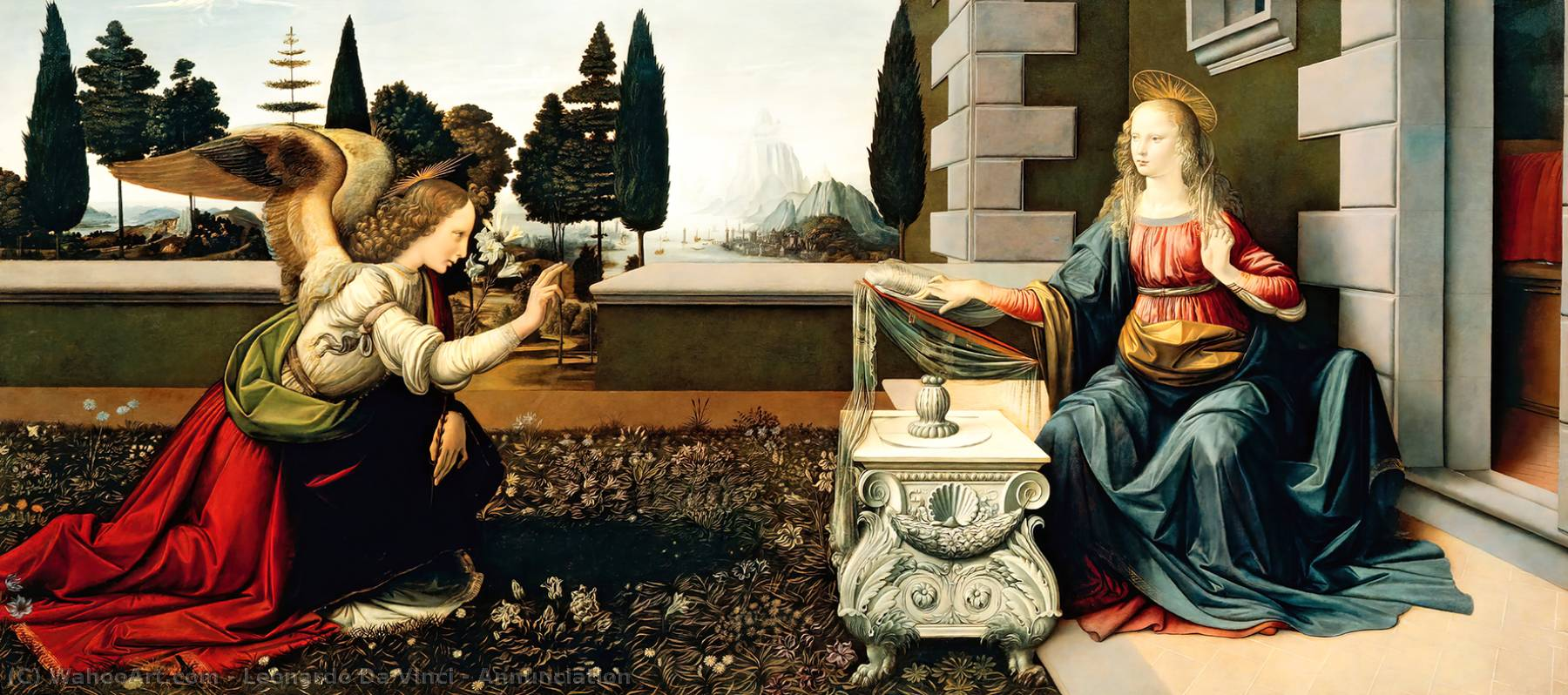 famous painting Annunciation of Leonardo Da Vinci