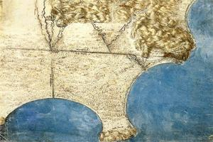 Leonardo Da Vinci - Bird's-eye-view of sea coast