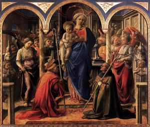 Fra Filippo Lippi - Madonna and Child with St Fredianus and St Augustine