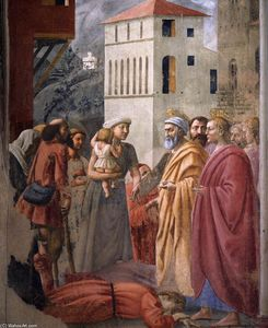 Masaccio (Ser Giovanni, Mone Cassai) - The Distribution of Alms and the Death of Ananias (detail)