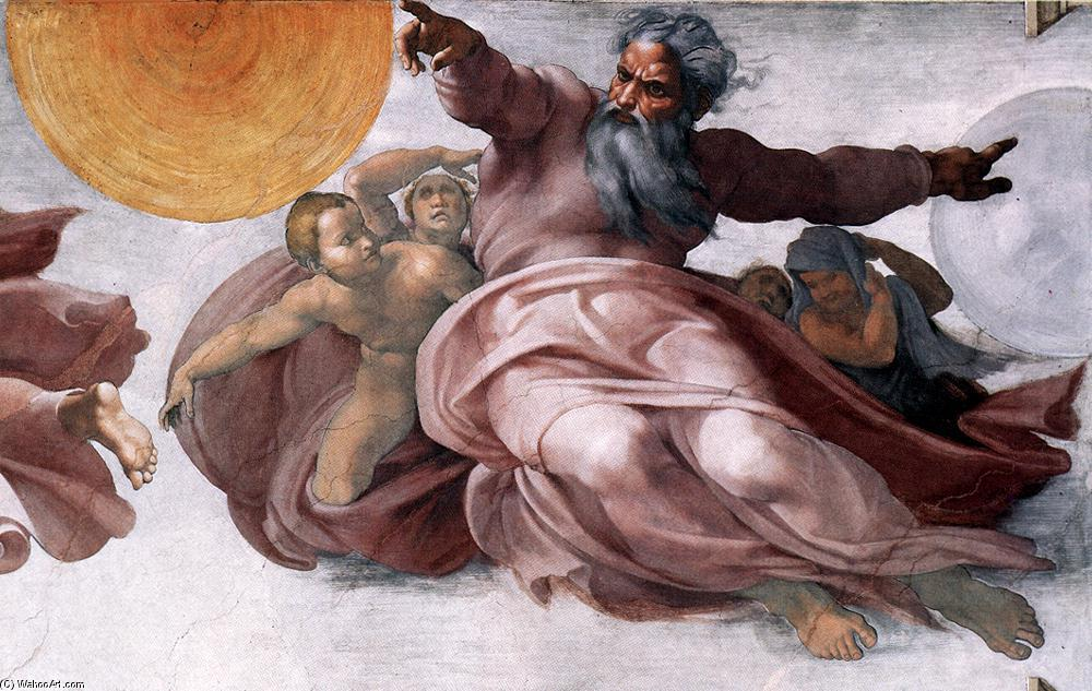 famous painting Creation of the Sun, Moon, and Plants (detail) of Michelangelo Buonarroti