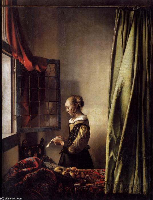 famous painting Girl Reading a Letter at an Open Window of Jan Vermeer