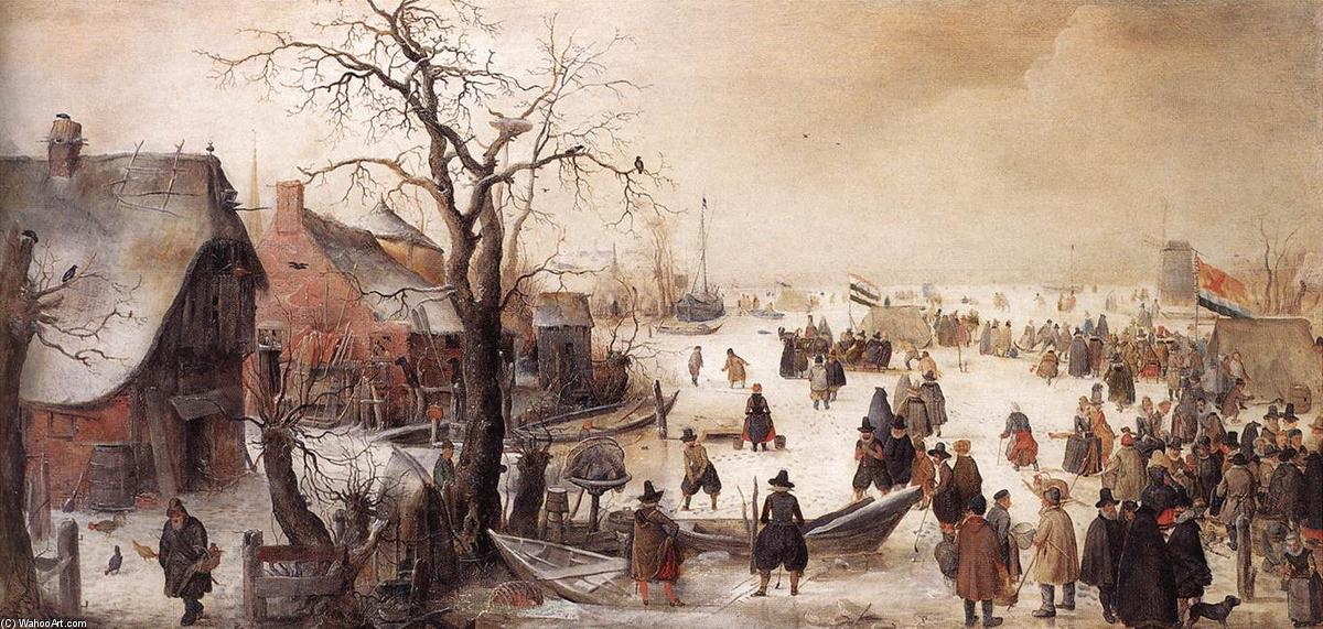 famous painting Winter Scene on a Canal of Hendrick Avercamp