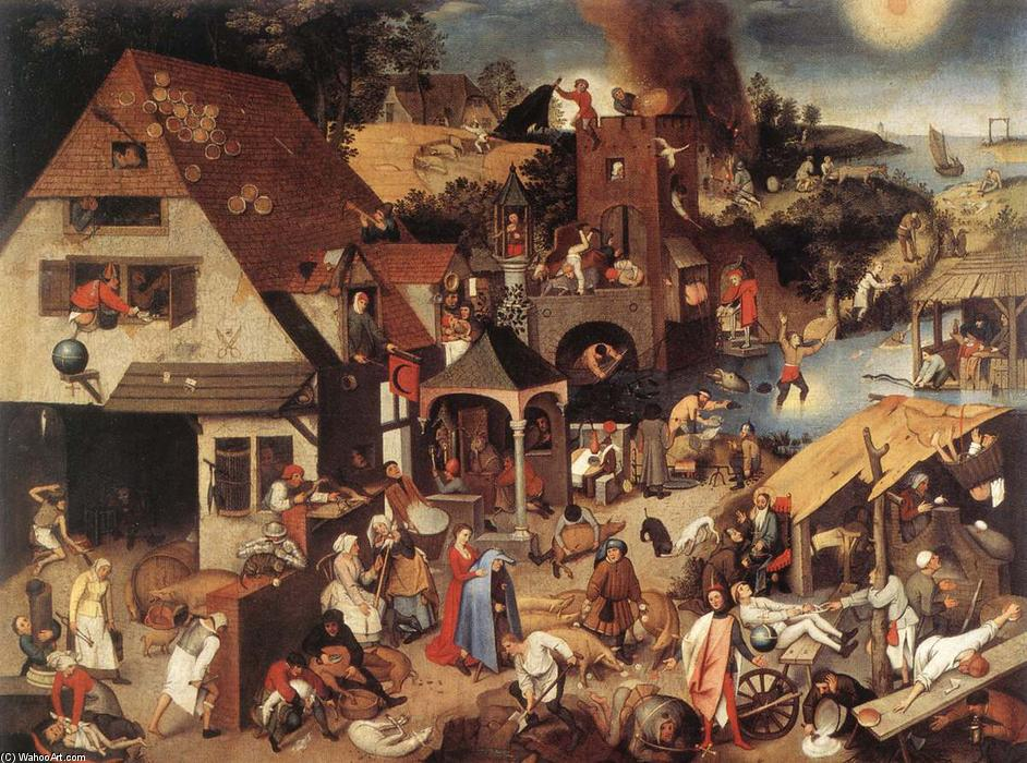 famous painting Netherlandish Proverbs of Pieter Bruegel The Younger