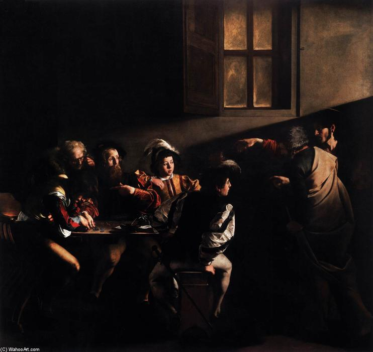 famous painting The Calling of Saint Matthew of Caravaggio (Michelangelo Merisi)