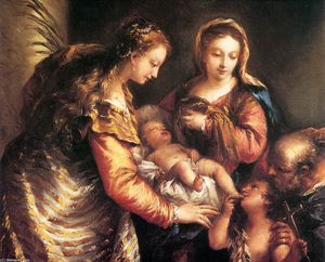 Gianantonio Guardi - Holy Family with St John the Baptist and St Catherine