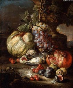 Giovanni Battista Ruoppolo - Still-Life with Fruit and Dead Birds in a Landscape