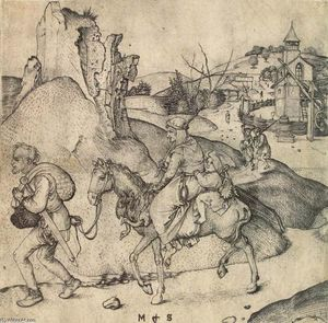 Martin Schongauer - Peasant Family Going to the Market