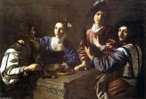 Nicolas Tournier - Drinking Party with a Lute Player